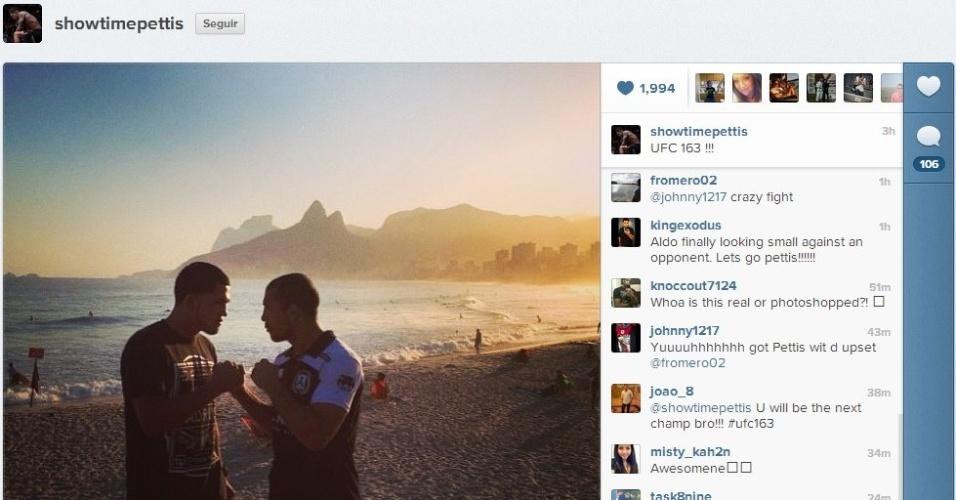 Anthony Pettis e José Aldo se encaram em praia do Rio de Janeiro