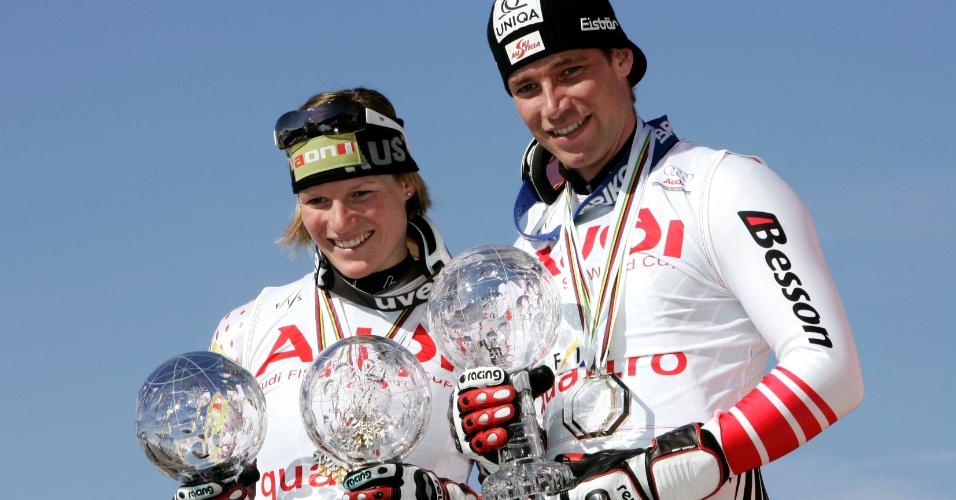 Campeões no esqui, os austríacos Benjamin Raich e Marlies Schild dividem títulos e formam um dos casais mais famosos da modalidade