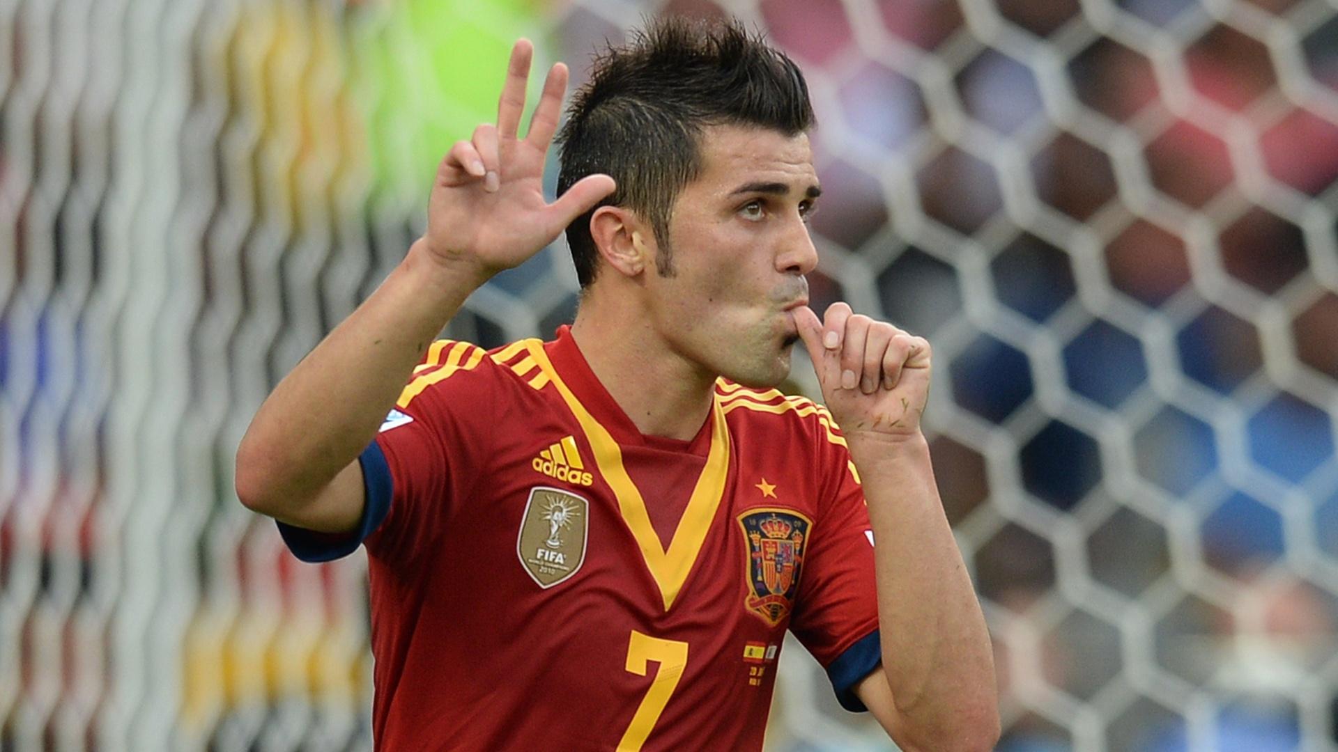 20.jun.2013 - Villa vibra ao aumentar o placar para a Espanha