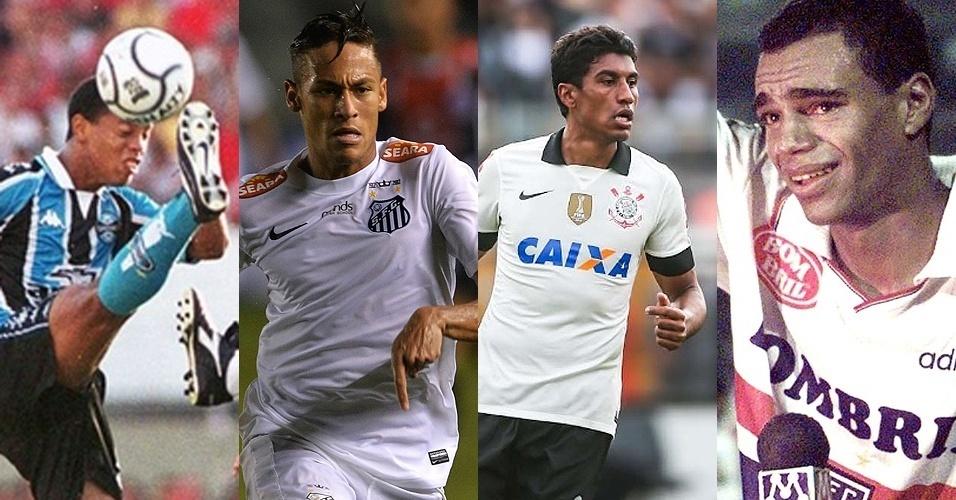 Ronaldinho (Grêmio), Neymar (Santos), Paulinho (Corinthians) e Denílson (São Paulo)