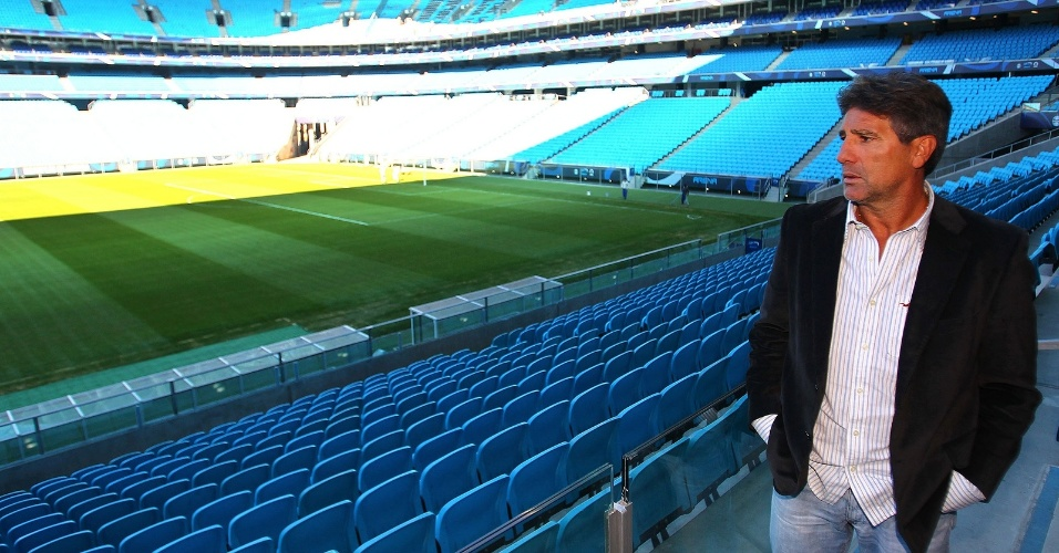Renato Gaúcho conhece a Arena do Grêmio e compara à Bombonera