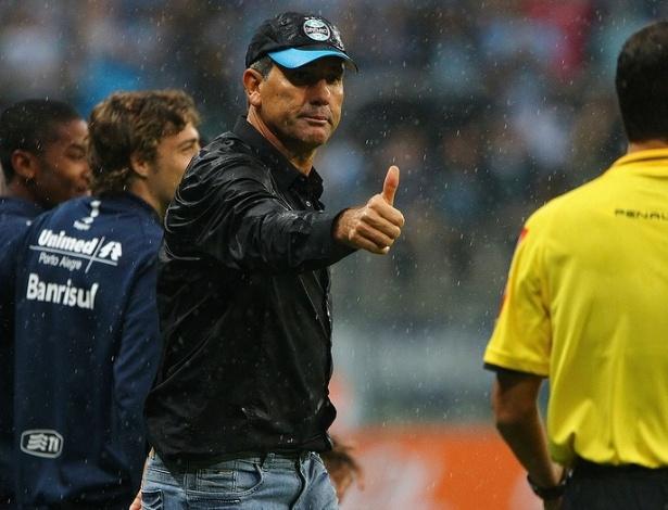 Renato Gaúcho gesticula em vitória do Grêmio sobre o Botafogo na Arena