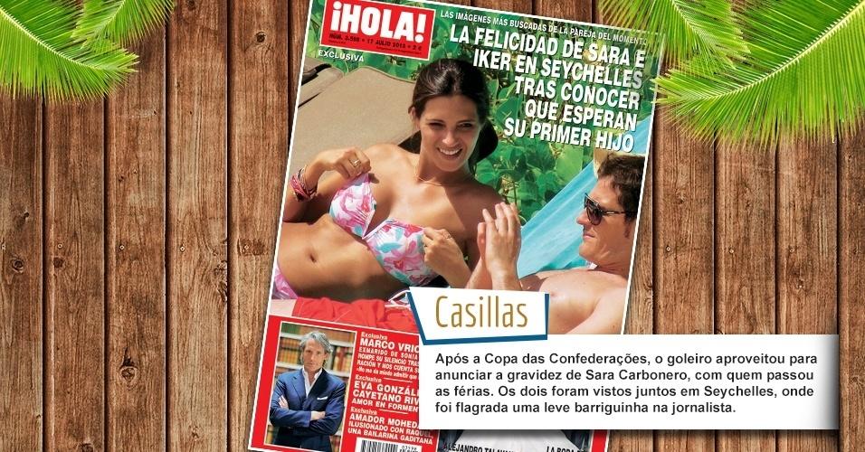 Após a Copa das Confederações, o goleiro aproveitou para anunciar a gravidez de Sara Carbonero, com quem passou as férias. Os dois foram vistos juntos em Seychelles, onde foi flagrada uma leve barriguinha na jornalista.