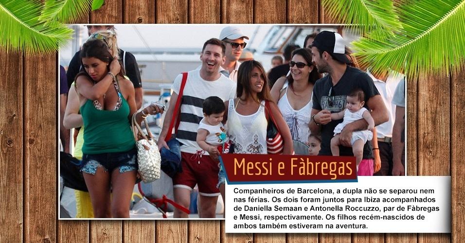 Companheiros de Barcelona, a dupla não se separou nem nas férias. Os dois foram juntos para Ibiza acompanhados de Daniella Semaan e Antonella Roccuzzo, par de Fàbregas e Messi, respectivamente. Os filhos recém-nascidos de ambos também estiveram na aventura.