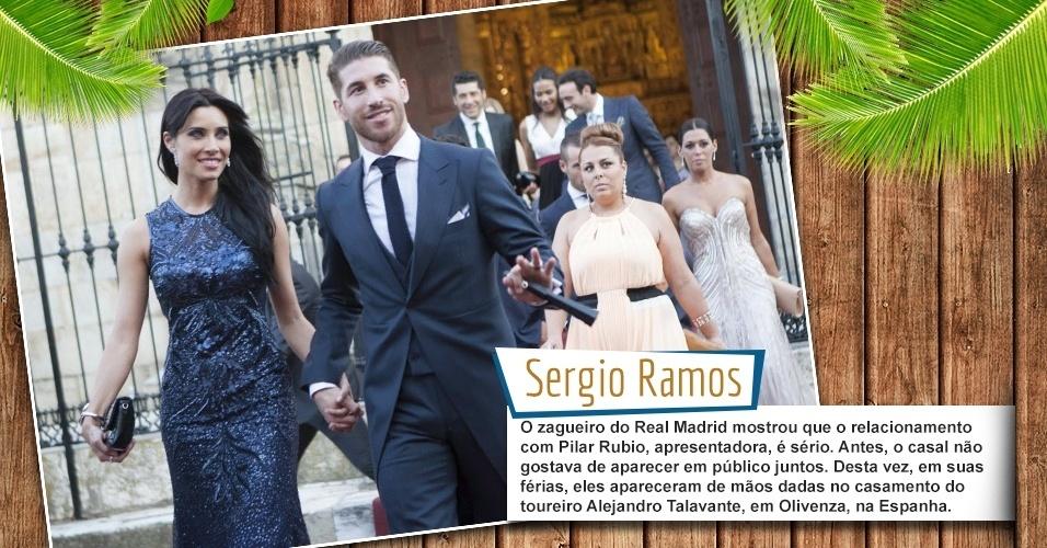 O zagueiro do Real Madrid mostrou que o relacionamento com Pilar Rubio, apresentadora, é sério. Antes, o casal não gostava de aparecer em público juntos. Desta vez, em suas férias, eles apareceram de mãos dadas no casamento do toureiro Alejandro Talavante, em Olivenza, na Espanha.