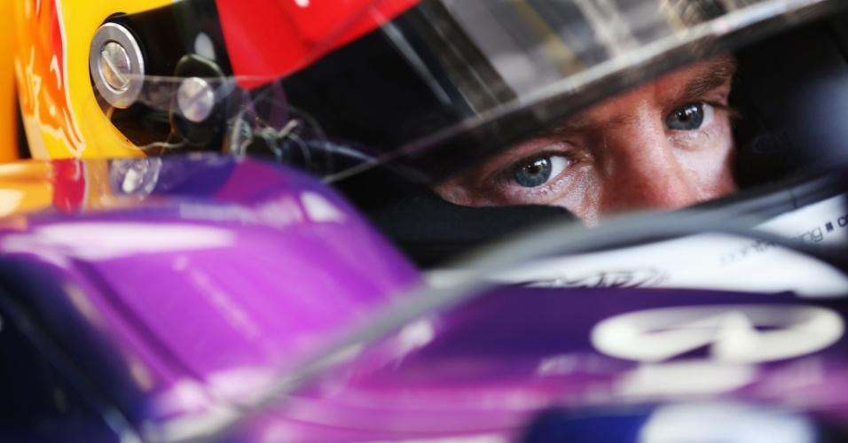 26.jul.2013 - Sebastian Vettel se concentra no cockpit de sua Red Bull antes de ir para a pista nos treinos livres para o GP da Hungria