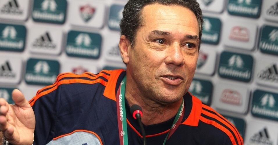 30.jul.2013 - Técnico Vanderlei Luxemburgo concedeu entrevista coletiva no Fluminense