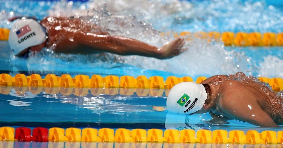 31.jul.2013 - Thiago Pereira nada sua eliminatória dos 200 m medley no Mundial de Barcelona
