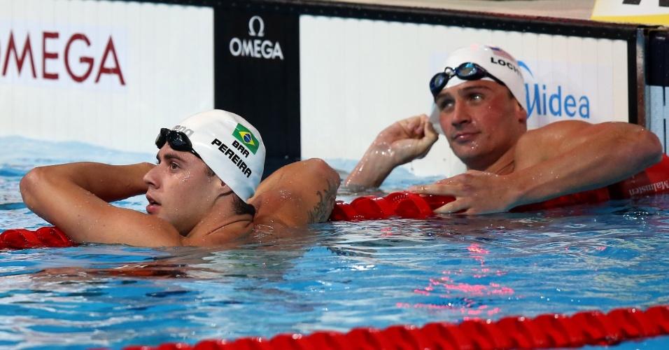 31.jul.2013 - Thiago Pereira observa seu tempo e vê que se classificou para as semifinais dos 200 m medley