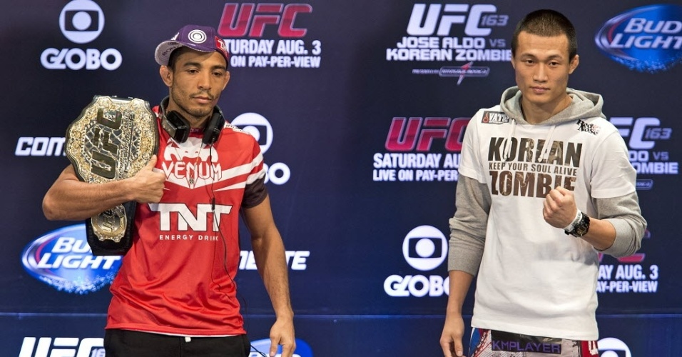 01.ago.2013 - José Aldo e Chan Sung Jung, o Zumbi Coreano, se encontram antes do combate deste sábado pelo UFC Rio 4