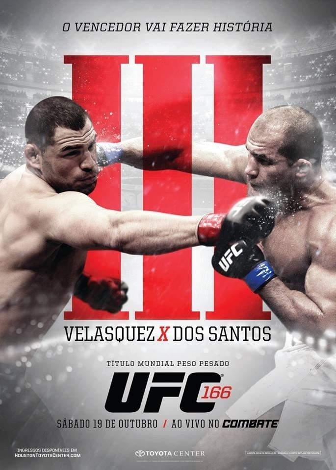 UFC divulga pôster da edição número 166, em que Júnior Cigano desafia o campeão dos pesados Cain Velásquez na trilogia entre eles. Combate acontece em Houston, em 19 de outubro
