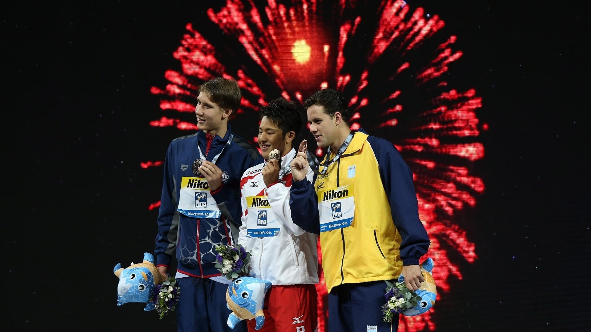 04.ago.2013 - Pódio dos 400 m medley, com ouro para o japonês Daiya Seto, prata para o norte-americano Chase Kalisz e bronze para o brasileiro Thiago Pereira