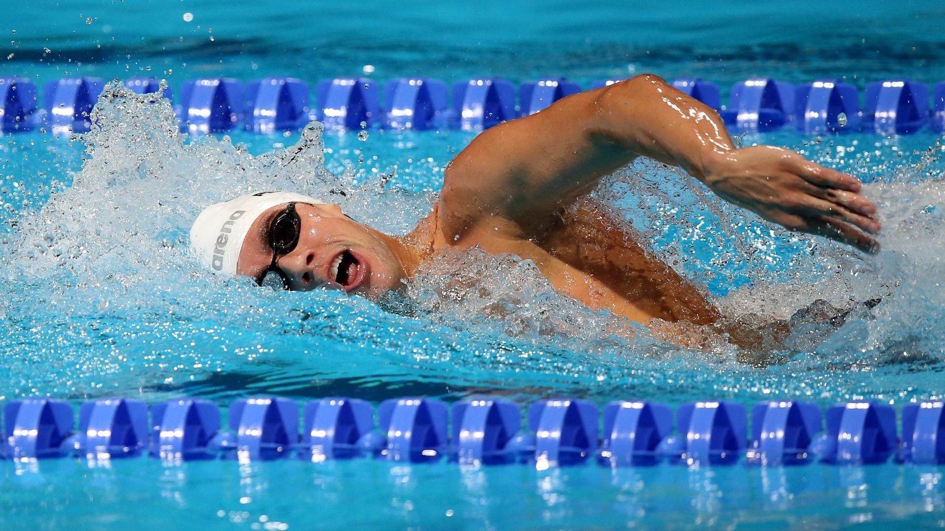 04.ago.2013 - Thiago Pereira fica em oitavo nas eliminatórias e vai à final dos 400 m medley em Barcelona