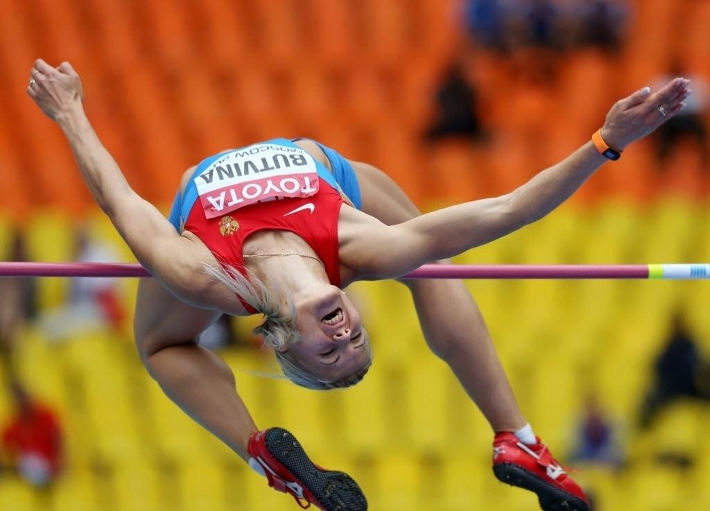 12.ago.2013 - A russa Aleksandra Butvina compete nos salto em altura do heptatlo, no Mundial de Moscou