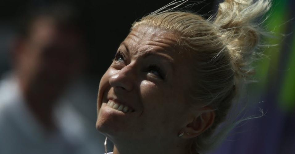 13.ago.2013 - A polonesa Karolina Tyminska morde o lábio durante lançamento de dardo na prova do heptatlo no Mundial de Moscou