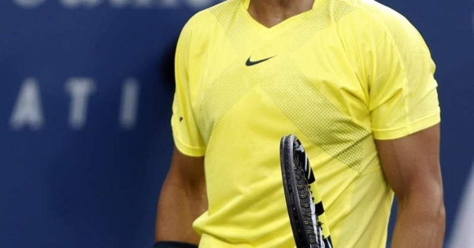 15.ago.2013 - Rafael Nadal reage durante a partida contra Grigor Dimitrov pelas oitavas de final do Masters 1000 de Cincinnati