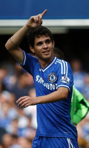 Oscar, do Chelsea, comemora gol marcado contra o Hull City no Campeonato Inglês