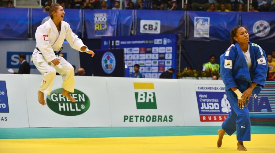 27.08.2013  - A brasileira Érika Miranda perdeu a final do Mundial de Judô para a atleta Majlinda Kelmendi, do Kosovo