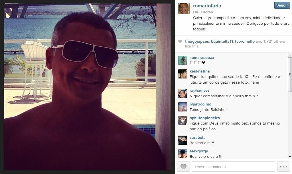 31/08/2013 - Romário recebe alta de hospital e posta foto no Instagram