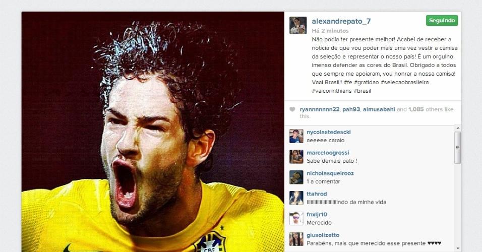 02.09.2013 - Alexandre Pato, atacante do Corinthians, comemora convocação para a seleção brasileira no Instagram