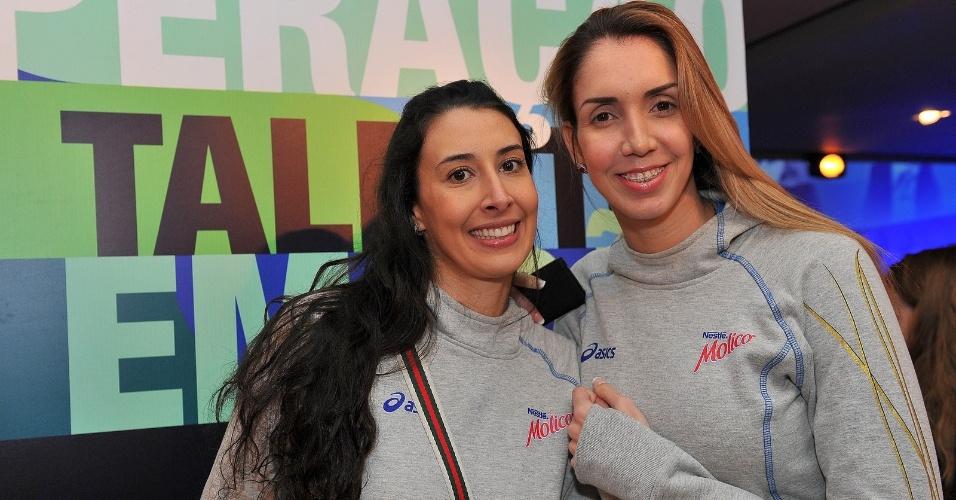 05.09.2013 - Sheilla e Thaísa, do Molico/Osasco, durante o lançamento da Superliga de vôlei, em São Paulo