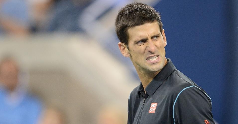 05.set.2013 - Djokovic comemora classificação para a semifinal do Aberto dos EUA