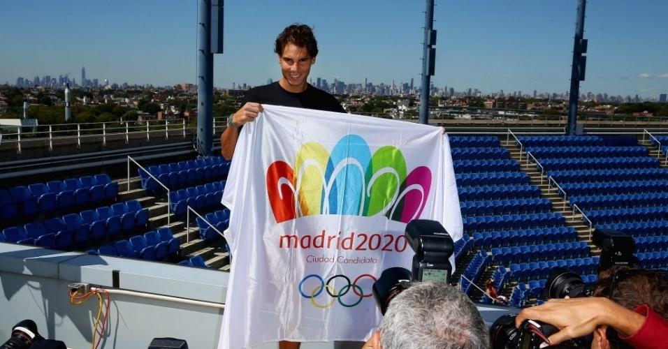 Classificado para as semifinais do Aberto dos EUA, Rafael Nadal aproveitou dia livre para entrar na campanha de Madri, cidade candidata a receber os Jogos Olímpicos de 2020