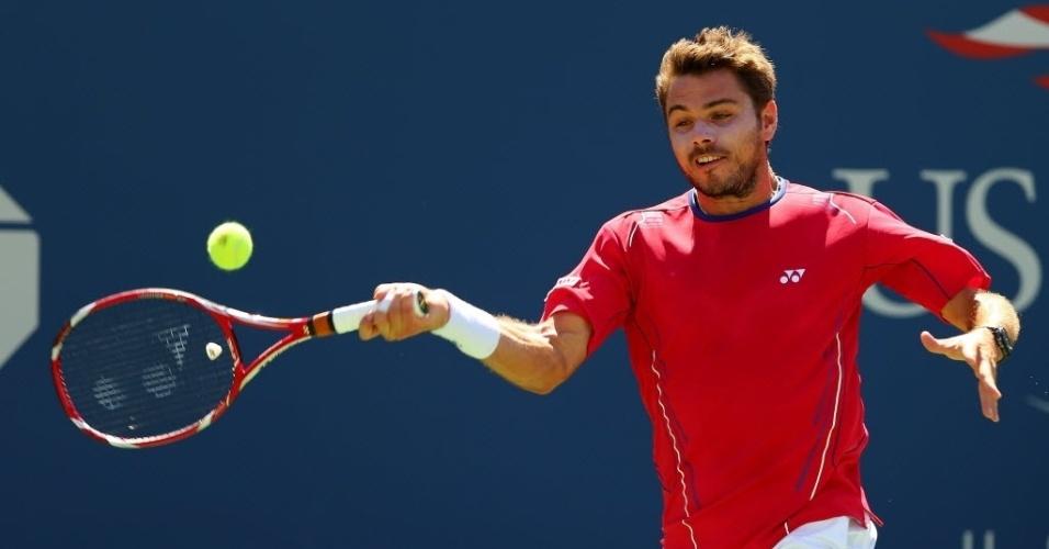 07.set.2013 - Suíço Stanislas Wawrinka e sérvio Novak Djokovic disputaram a primeira semifinal masculina do Aberto dos Estados Unidos de 2013