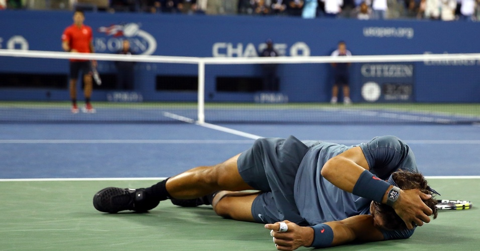 09.09.2013 - Rafael Nadal desaba após vencer o sérvio Novak Djokovic na final do US Open