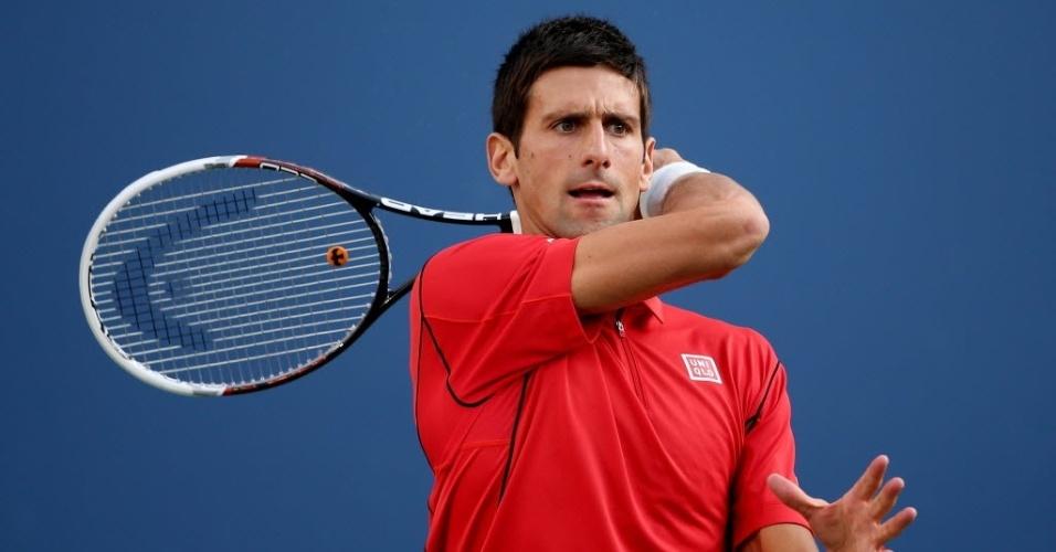 09.set.2013 - Sérvio Novak Djokovic encara Rafael Nadal na decisão do Aberto dos Estados Unidos de 2013