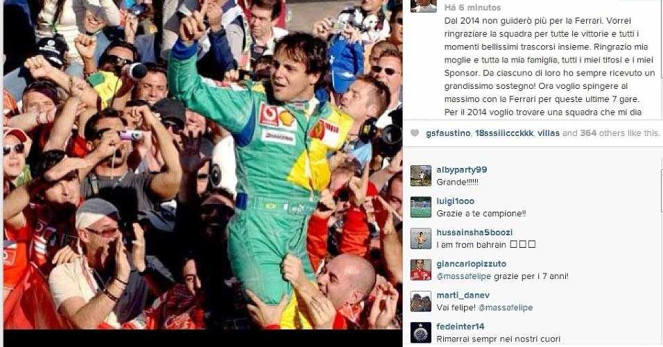 Felipe Massa anuncia sua saída da Ferrari