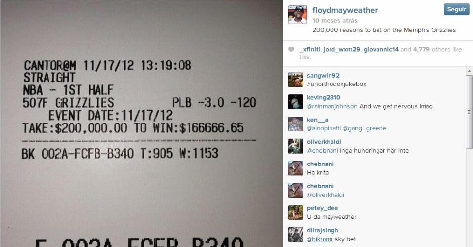 Mayweather também adora uma aposta e tem o costume de investir quantias milionárias em seus times favoritos. Na foto, o bilhete de US$ 200 mil que apostou no time de basquete Memphis Grizzilies