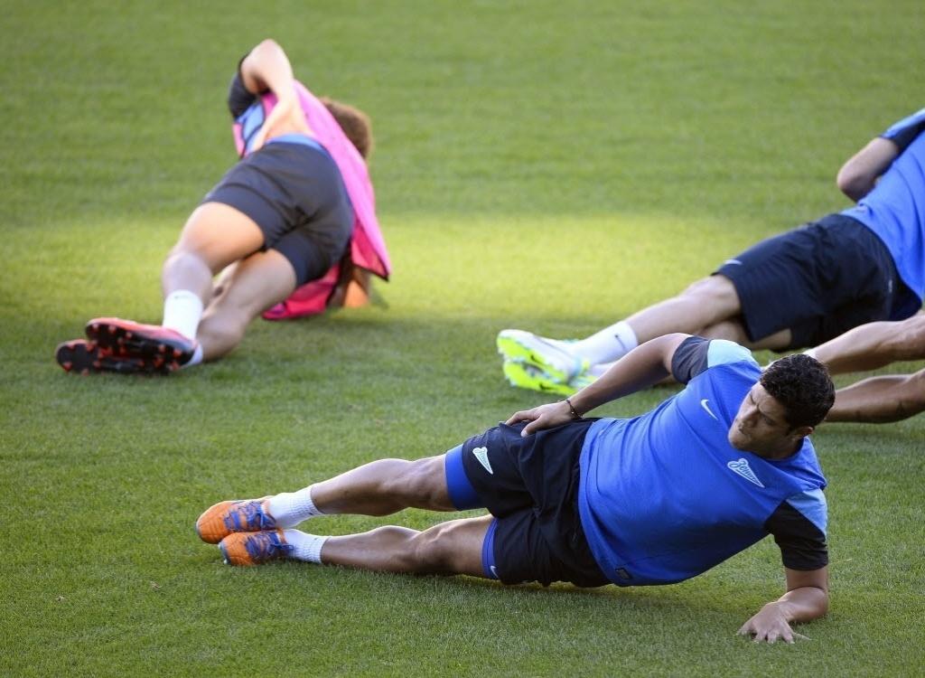17.set.2013 - Hulk se exercita durante treino do Zenit St. Petersburgo