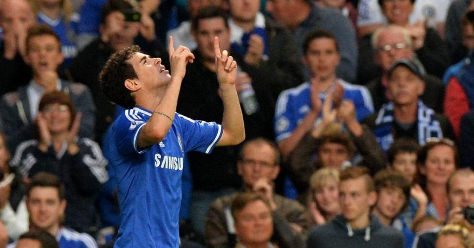 21.set.2013 - Oscar comemora gol em partida do Chelsea contra o Fulham