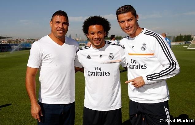 Ronaldo, Marcelo e Cristiano Ronaldo durante visita do Fenômeno ao Real Madrid