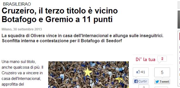 Jornal italiano Gazzetta dello Sport estampou manchete com destaque para o líder Cruzeiro