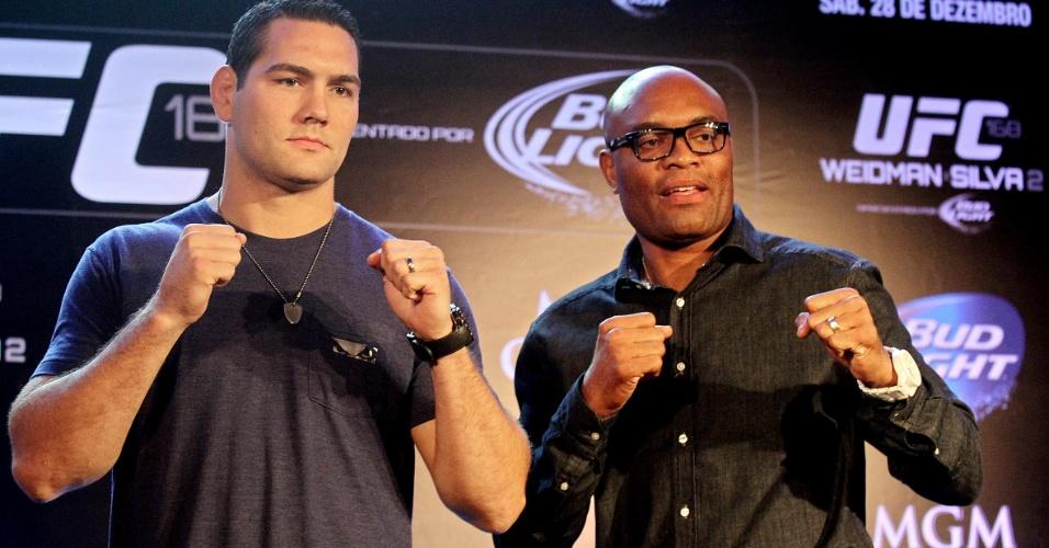 Chris Weidman e Anderson Silva fecharam o tour de imprensa do UFC 168 em São Paulo