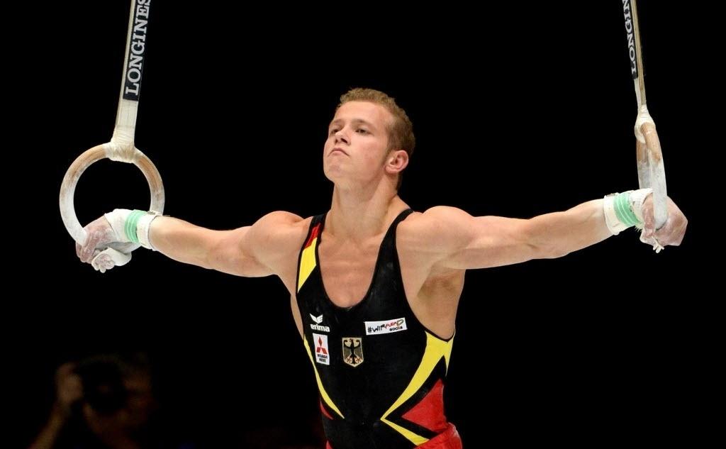 03.10.2013 - Ginasta alemão Fabián Hambuechen executa sua série nas argolas na final do Individual Geral no Mundial da Bélgica