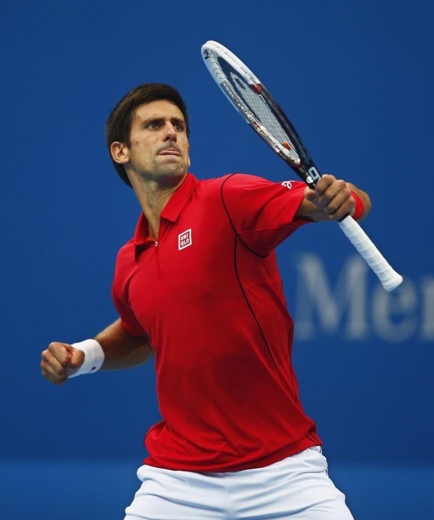 03.out.2013 - Novak Djokovic vibra após derrotar Fernando Verdasco nas oitavas do torneio de Pequim