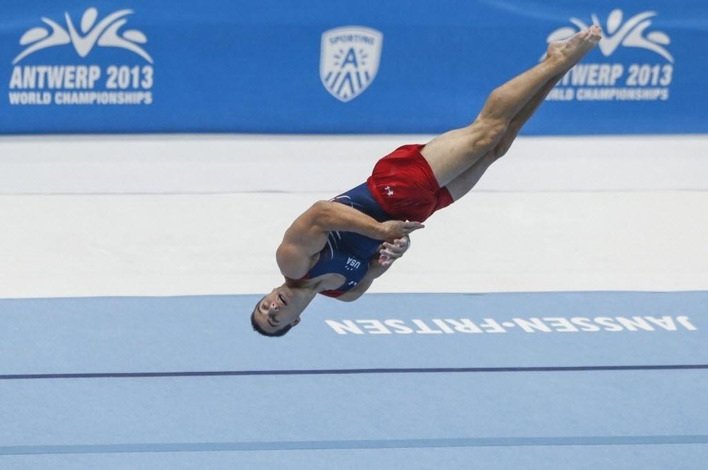 05.10.2013 - Jacob Dalton, dos Estados Unidos, ficou com a medalha de prata no solo no Mundial de Ginástica
