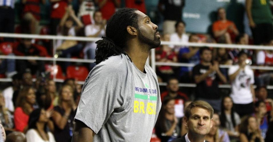 12.out.2013 - Nenê foi o único brasileiro em quadra no primeiro jogo da NBA no Brasil
