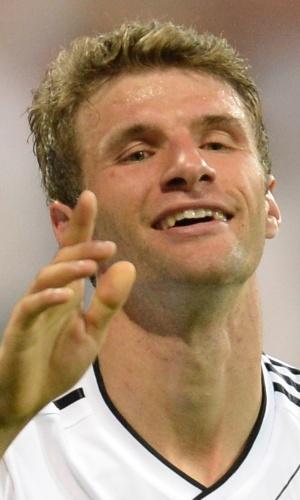 06.set.2013 - Thomas Müller comemora após marcar um dos gols da Alemanha na partida contra a Áustria pelas eliminatórias da Copa-14