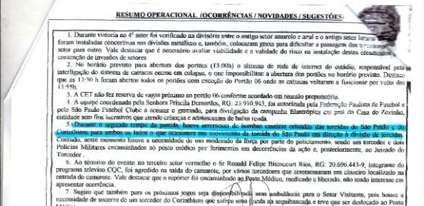 Relatório da Polícia Militar diz que foram arremessadas bombas das duas torcidas no clássico entre Corinthians e São Paulo