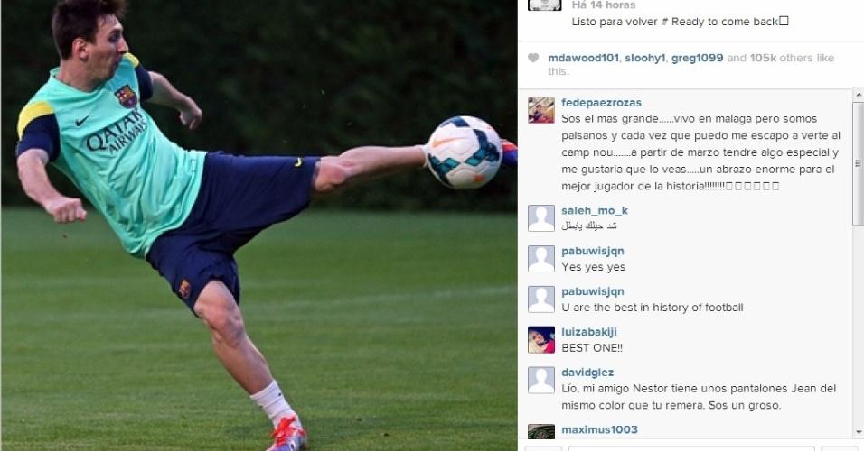 Messi anuncia no Instagram que está pronto para voltar a jogar
