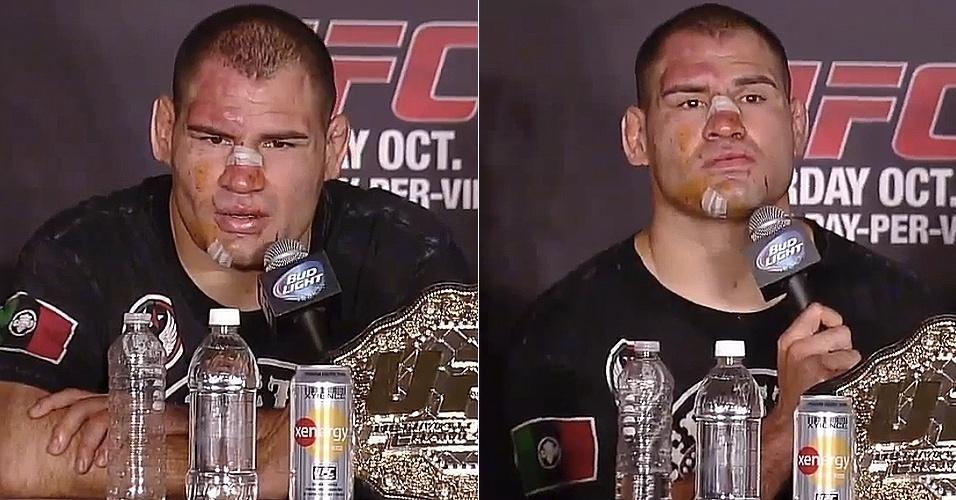 Cain Velasquez também ficou com o rosto machucado depois da vitória sobre Junior Cigano no UFC 166