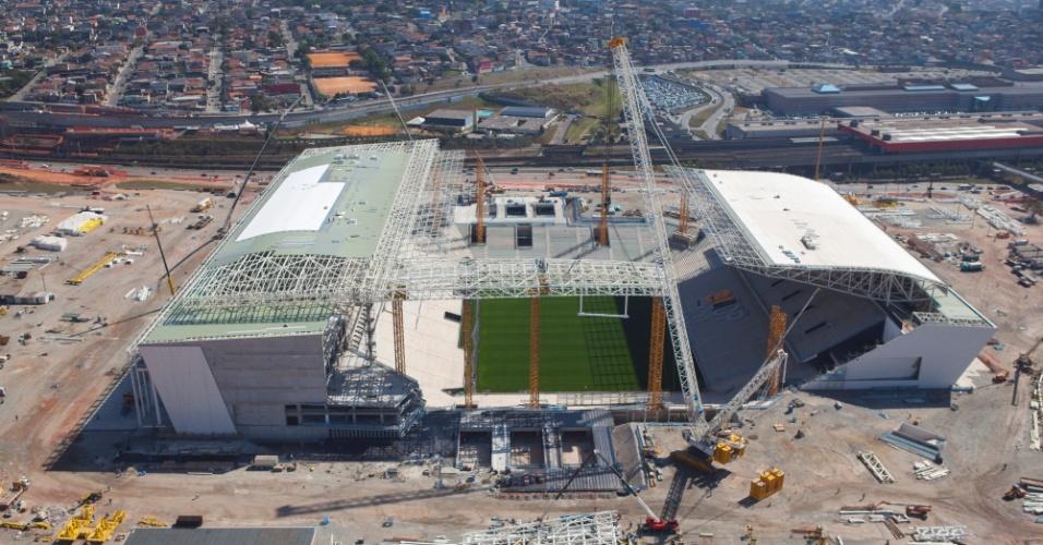 11.09.2013 - O Itaquerão, em São Paulo, é um dos estádios mais adiantados dos que ainda estão em obras