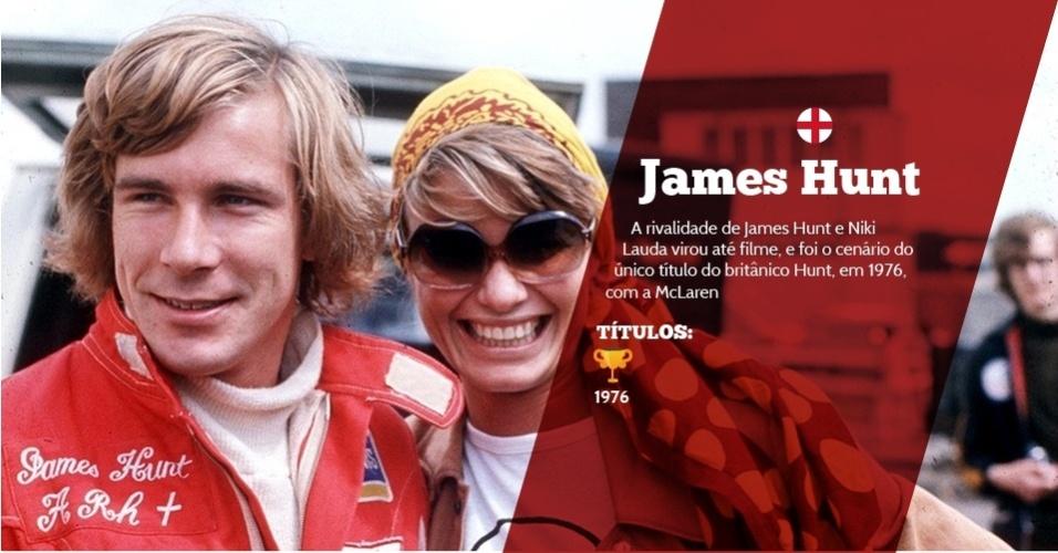 James Hunt (Inglaterra) - 1 título ? 1976 - A rivalidade de James Hunt e Niki Lauda virou até filme, e foi o cenário do único título do britânico Hunt, em 1976, com a McLaren