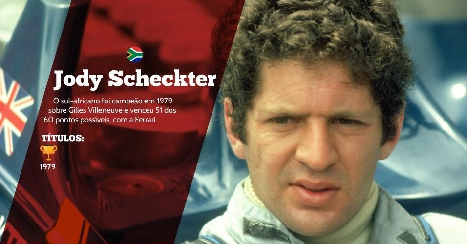 Jody Scheckter (África do Sul) - 1 título ? 1979 - O sul-africano foi campeão em 1979 sobre Gilles Villeneuve e venceu 51 dos 60 pontos possíveis, com a Ferrari
