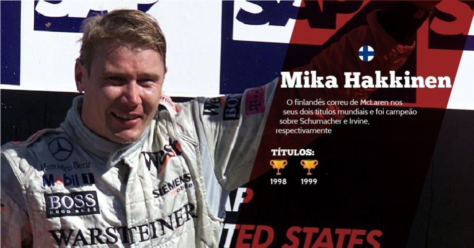 Mika Hakkinen (Finlândia) - 2 títulos - 1998 e 1999 - O finlandês correu de McLaren nos seus dois títulos mundiais e foi campeão sobre Schumacher e Irvine, respectivamente