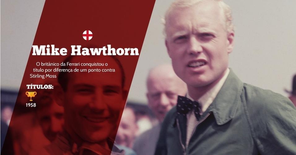 Mike Hawthorn (Inglaterra) - 1 título ? 1958 - O britânico da Ferrari conquistou o título por diferença de um ponto contra Stirling Moss